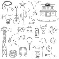 selos digitais do vaqueiro preto do esboço