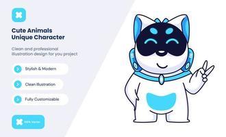 ilustração de ícone de cão robô fofo. conceito de ícone de amor animal vetor