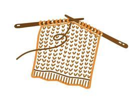 agulhas de tricô com tecido de lã no estilo doodle vetor