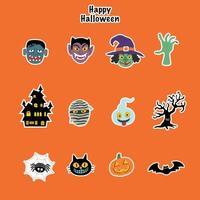 conjunto de adesivos de ícones de halloween inclui muitos personagens de monstros, como múmia drácula bruxa abóbora e frankenstein. eps10 de ilustração vetorial. vetor