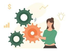 soluções de negócios para sucesso e estratégia resolvem o problema do trabalho em equipe incompleto vetor