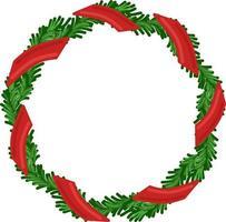 vetor de férias de Natal redonda moldura de grinalda com fita verde e vermelha. cartaz de férias e elemento de cartão comemorativo