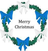 feriado de natal redondo grinalda quadro com arcos verdes e coloridos. feriado promover cartaz ou cartão. vetor