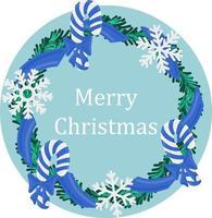 feriado de natal redondo grinalda quadro com bastão de doces azul e flocos de neve. feriado promover cartaz ou cartão. vetor