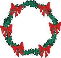 vetor de férias de Natal redonda moldura de grinalda com laço verde e vermelho. cartaz de férias e elemento de cartão comemorativo