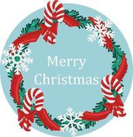 feriado de natal redondo grinalda quadro com bastão de doces vermelhos e flocos de neve. feriado promover cartaz ou cartão. vetor