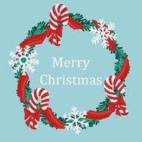 feriado de natal redondo grinalda quadro com bastão de doces e flocos de neve. feriado promover cartaz ou cartão. vetor