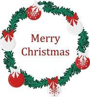feriado de natal redondo grinalda quadro com bolas verdes e de Natal. feriado promover cartaz ou cartão. vetor
