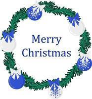 feriado de natal redondo grinalda quadro com bolas de natal verdes e azuis. feriado promover cartaz ou cartão. vetor