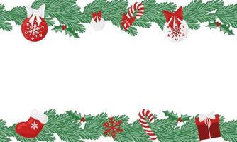 quadro de vetor perene de férias de Natal com elementos de decoração do feriado. moldura perfeita de férias para banners, cartazes de promoção.
