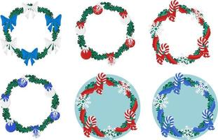Natal feriado redondo grinalda quadro com coleção perene. elementos de cartaz ou cartão comemorativo de promoção de feriado vetor