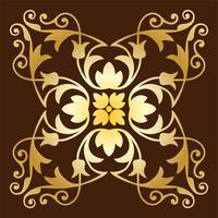 padrão de telha ornamentado de ouro vetor