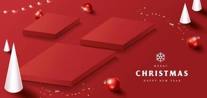 banner de feliz natal com formato quadrado de exibição de produto e decoração festiva vetor