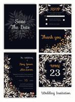 Convite de casamento, salvar a data, cartão de RSVP, cartão de agradecimento