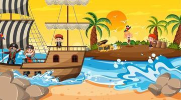 cena da ilha do tesouro na hora do pôr do sol com crianças piratas vetor