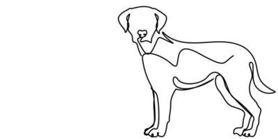 desenho de linha contínua de cachorro fofo vetor