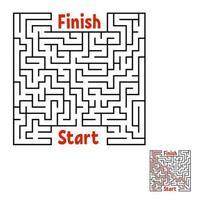 labirinto quadrado abstrato. jogo para crianças. quebra-cabeça para crianças. enigma do labirinto. ilustração em vetor liso preto isolada no fundo branco. com resposta.