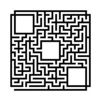 labirinto quadrado abstrato. jogo para crianças. quebra-cabeça para crianças. enigma do labirinto. ilustração em vetor plana isolada no fundo branco. com lugar para sua imagem.