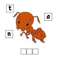 formiga marrom. quebra-cabeça de palavras. planilha de desenvolvimento educacional. jogo para crianças. página de atividades. quebra-cabeça para crianças. enigma para a pré-escola. ilustração em vetor plana isolada simples no estilo bonito dos desenhos animados.