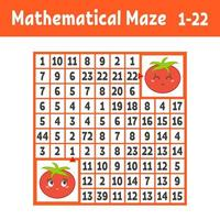 labirinto quadrado colorido matemático. ajude um tomate a chegar ao outro. jogo para crianças. quebra-cabeça para crianças. o estudo dos números. enigma do labirinto. ilustração em vetor plana isolada no fundo branco.