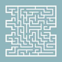 labirinto quadrado abstrato. jogo para crianças. quebra-cabeça para crianças. encontre o caminho certo. enigma do labirinto. ilustração em vetor plana isolada na cor de fundo.