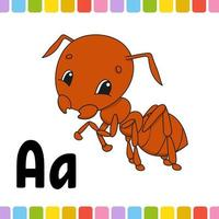 formiga marrom. alfabeto animal. zoo abc. animais fofos dos desenhos animados isolados no fundo branco. para a educação de crianças. aprender letras. ilustração vetorial. vetor