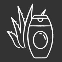 ícone de giz de creme de aloe vera branco sobre fundo preto vetor