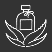 ícone branco de giz de loção orgânica em fundo preto vetor