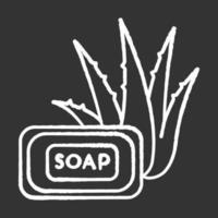 sabão de aloe vera ícone de giz branco sobre fundo preto vetor