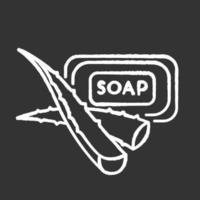 ícone de giz de sabão à base de plantas em fundo preto vetor