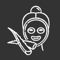 máscara de rosto ícone de giz branco sobre fundo preto vetor