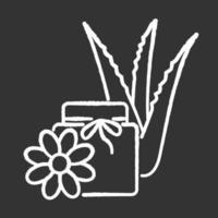 ícone de giz branco de cera vegan em fundo preto vetor