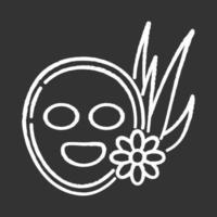 máscara facial vegana ícone de giz branco sobre fundo preto vetor