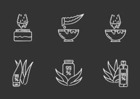 aloe vera giz ícones brancos em fundo preto vetor