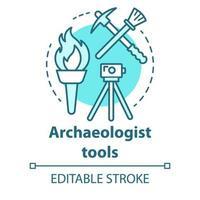 ícone do conceito de ferramentas de arqueólogo vetor