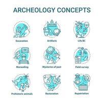 Conjunto de ícones de conceito de arquelogia vetor