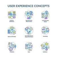 conjunto de ícones de conceito de experiência do usuário vetor