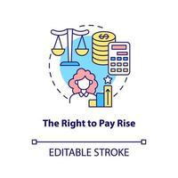 o ícone do conceito de direito de aumento salarial vetor
