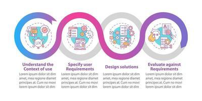 modelo de infográfico de vetor de trabalho centrado no usuário