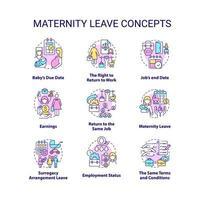 Conjunto de ícones de conceitos relacionados à licença maternidade vetor