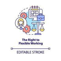 direito ao ícone do conceito de trabalho flexível vetor