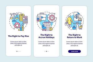 licença maternidade direitos da empregada tela da página de integração do aplicativo móvel vetor