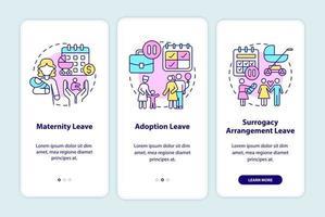 tela da página de aplicativos para dispositivos móveis de integração de tipos de licença maternidade vetor