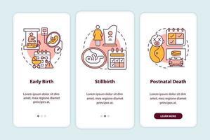 casos de direito a licença maternidade tela da página de integração do aplicativo móvel vetor