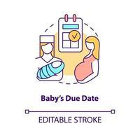 ícone do conceito de data de parto do bebê vetor