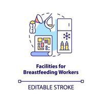 ícone do conceito de instalações para trabalhadoras que amamentam vetor