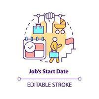 ícone de conceito de data de início de trabalho vetor