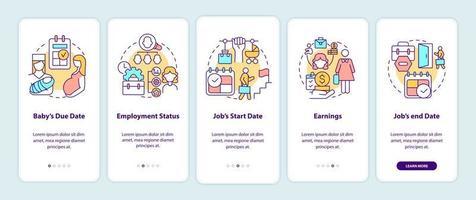 cálculo dos requisitos de pagamento de maternidade na tela da página do aplicativo móvel vetor