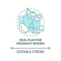 plano de refeição para gestantes ícone conceito azul vetor