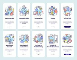 Conjunto de telas de aplicativos para dispositivos móveis relacionado à licença maternidade vetor